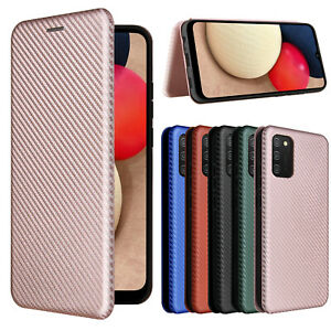 For Samsung galaxy A02S EU / US Version Magnetic Carbon Fiber Flip Wallet Case