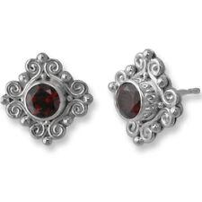 Silver Garnet Post Earrings Offerings Sajen Orante 925 Sterling