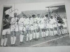 More details for leeds united 70s team line up postcard signed 10 charton hunter giles sprake