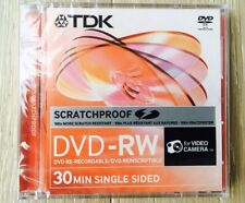 2 Discs TDK 8cm SCRATCHPROOF 2x 1.4gb Dvd-rw 30min Singled Sided for Camcorders