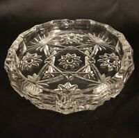 VTG Large Glass Cigarette Ashtray 8 Inch Diameter Clear Star Pattern Mid Century