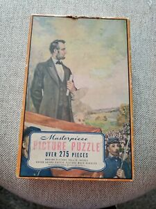 Vtg. MASTERPIECE Picture Puzzle 275 Pc No.1964 Lincoln at Gettysburg