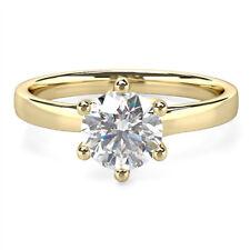 Round Cut 0.4 Carat Real Genuine Diamond Rings 14K Yellow Gold Band Size 4 5 6.5