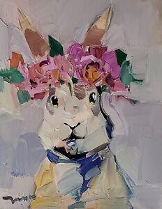 JOSE TRUJILLO Oil Painting IMPRESSIONISM 11X14 BUNNY PORTRAIT FLOWERS CROWN