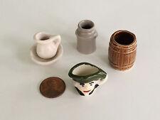 Vintage Ceramic Miniatures Toby Jug, Wash Basin, Pitcher, Milk Can, Barrel