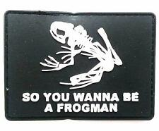 """A FROGMAN"" Logo Paintball Airsoft PVC Velcro Patch (Black / White)"
