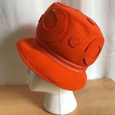 Henry Pollak Womens Orange Wool Cloche Hat Vintage 1960s Retro Glenover 21 in