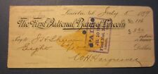 Old 1899 First National Bank of LINCOLN NEBRASKA - BANK CHECK - Revenue Stamp