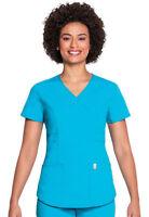 Code Happy Women's Short Sleeve Patch Pocket Mock Wrap Nursing Scrub Top. 46601A