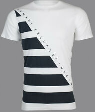 Armani Exchange Mens S/S T-Shirt DIAGONAL STRIPE Designer WHITE Casual S-2XL $45