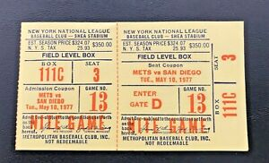 Dave Winfield HR #57 Home Run May 10 1977 to 5/11/77 Mets Padres Full Ticket DH
