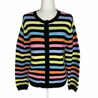 Crystal-Kobe Pastel & Black Stripe Zip Cardigan Sweater Women's Large Cotton