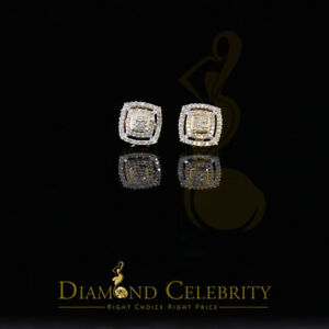 10K Yellow Gold Finish Silver w/Real 0.25CT Diamond Men's Square Stud Earrings