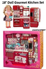 "69pc 18"" Doll-House RED KITCHEN +Refrigerator Set 4 American Girl Our Generation"