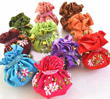 WHOLESALE MIXED COLORS SILK JEWELRY TRAVEL 10pcs BAG ROLL POUCH BROCADE BAG