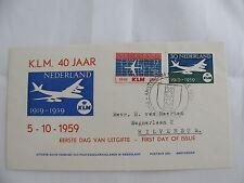 FDC Netherlands KLM 40 year plane Flugzeug Philatelistenbeurs Amsterdam 1959