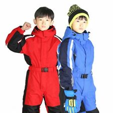 Kids Ski Suit One Piece Thick Winter Snow Waterproof Breathable Hooded Ski Suit