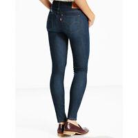 Levi's 711 Skinny Slim Fit Mid Rise Dark Blue Stretch Lycra Jeans Size W23 L32