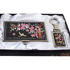 Set Porte-clés + Porte-cartes de visite Nacre Design Art Corée FLEURS MAEHWA