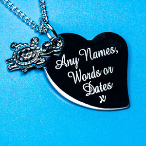 Personalised Turtle Charm Pendant Necklace Baby Jewellery Gift Free Engraving