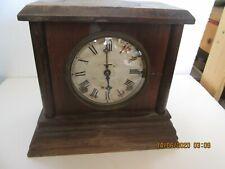 Clock Mantle Battery Power Wood  Ingraham Vintage Old Chimes