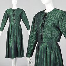Medium 1990s Taffeta Holiday Skirt Set Long Sleeve Vtg Quilted Jacket Full Skirt