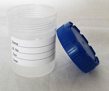 50ml campione urine sterile Sgabello Specimen Bottiglia Container Lab Pentola a vite superiore x5pc