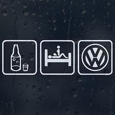 Mangiare BERE DORMIRE VOLKSWAGEN Logo Auto Decalcomania in Vinile Adesivo VW GOLF PASSAT SCIROCCO