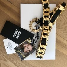 MOSCHINO [tv] H&M Black and Gold Leather Belt M/L