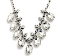 SILVER CLEAR WHITE DIAMANTE CRYSTAL RHINESTONE Chunky Vintage Statement Necklace
