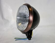 "Black Satin 5-3/4"" Headlight with Antique Copper Trim Ring, Bobber, Chopper"