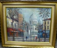 Original vintage Oil Painting Expressionist Paris Panthéon French City scene 50s