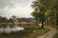 Canvas Print Beautiful lake scenery Oil painting Giclee Printed on Canvas P458