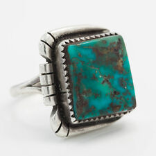 Vintage Sterling Silver Native Pawn Indian Navajo Stormy Mountain Turquoise Ring