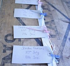 Baby Shower Game - Guess the Date and Weight - Pink & Blue . keepsake