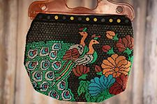 70ss vintage multi coloured peacock beaded tote bag needle style clutch bag