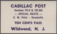 Cadillac Local Post Daretown NJ #CP27 MNH 10c Wildwood Special Route