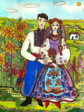 Ukrainian Folk Art by Elena Diadenko, Ukrainian Couple, Print