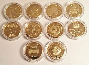 New Set of 10 x 1/10th oz HGE 999 Gold Australiana Coins, Ned Kelly, Gallipoli.