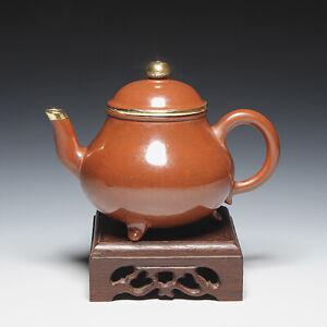 OldZiSha-China Yixing ZiSha Pure ZhuNi Small 170cc Polished Old Teapot W Copper