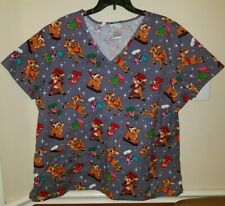 Rudolph the Red Nose Reindeer Womens Scrub Top Christmas Stockings Plus Size 2X