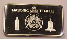 1 oz One Ounce Usa .999 Fine Silver 100 Mills Masonic Temple Bar