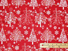 Sparkle Red Christmas Trees w/ Metallic Holiday Fabric by the 1/2 Yard #42381M-1