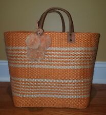 Mar Y Sol Caracas Tote Striped Straw Handbag Tassel XL in Peach (Nearly New)