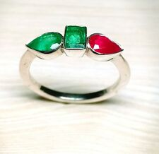 Antique Natural Emerald Ruby Gemstone Ring 925 Starling Silver Mother Gift Ring
