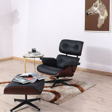 Rosewood lounge chair and footstool Genuine leather black Reclining Armchair