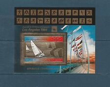 Centrafrique   bloc  jeux olympiques Los Angeles 1984  voile  sur OR  **