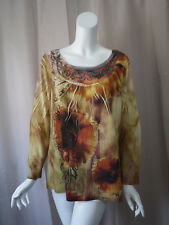 Chico's print Long Sleeve Blouse Top size 2 Excellent