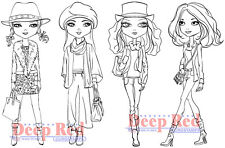 Deep Red Stamps City Girls Fall Fashion Rubber Cling Stamps