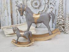 Chic Antique Caballo de Mecedora Caballo Navidad Madera Gris 23cm Shabby Vintage